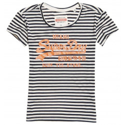T-shirt Superdry femme vintage logo stripe entry eclipse