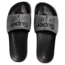 Tongs Superdry Lineman Pool Slide Black/Grey Grit