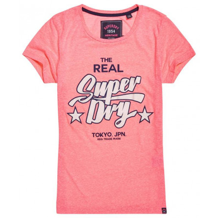 T-shirt Superdry Femme Real heritage Duo Entry Fluro Pink
