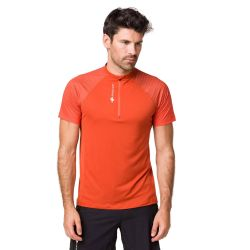 Raidlight Activ Run Ss Shirt Mid Zip Burnt Orange