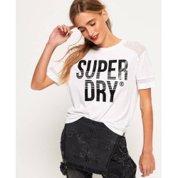 T-shirt Superdry Pacific Pieced Femme Liner White