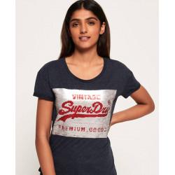 T-shirt Superdry femme Premium Sequin Slim