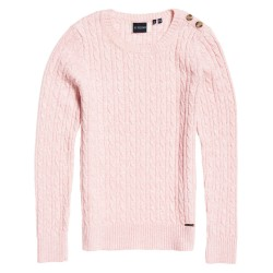 Pull Superdry Croyde Cable Knit Femme soft pink marl