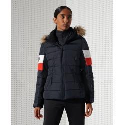 Doudoune Superdry Alpine Fur Luxe Femme Eclipse Navy